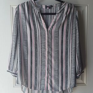 NYDJ 3/4 Sleeve Henley Top Black and Pink Stripe